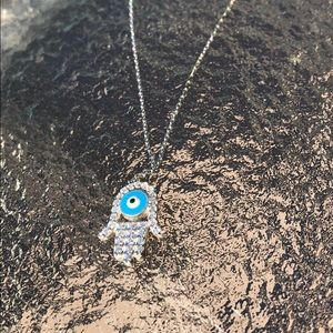 Evil eye necklace sterling and rhodium